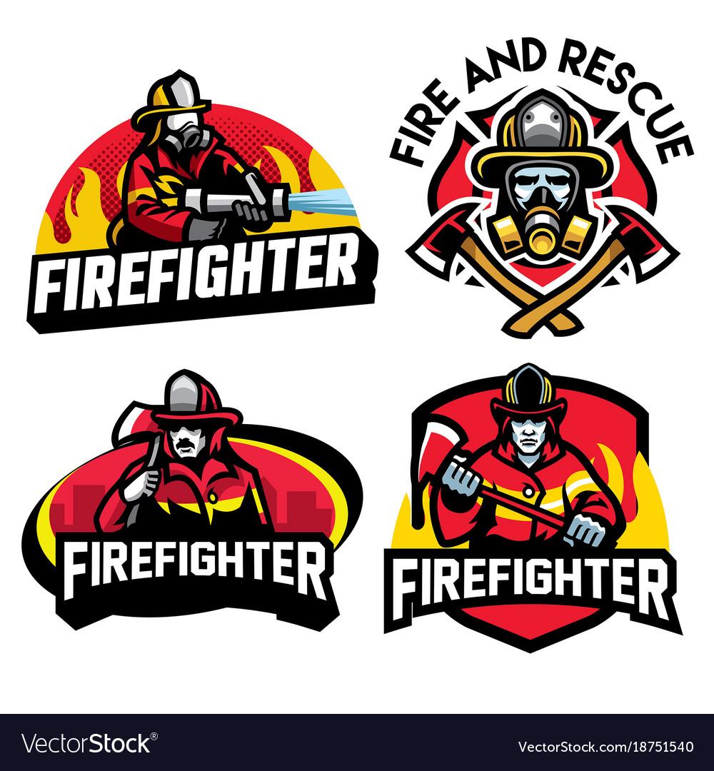 Firefighter badge design set