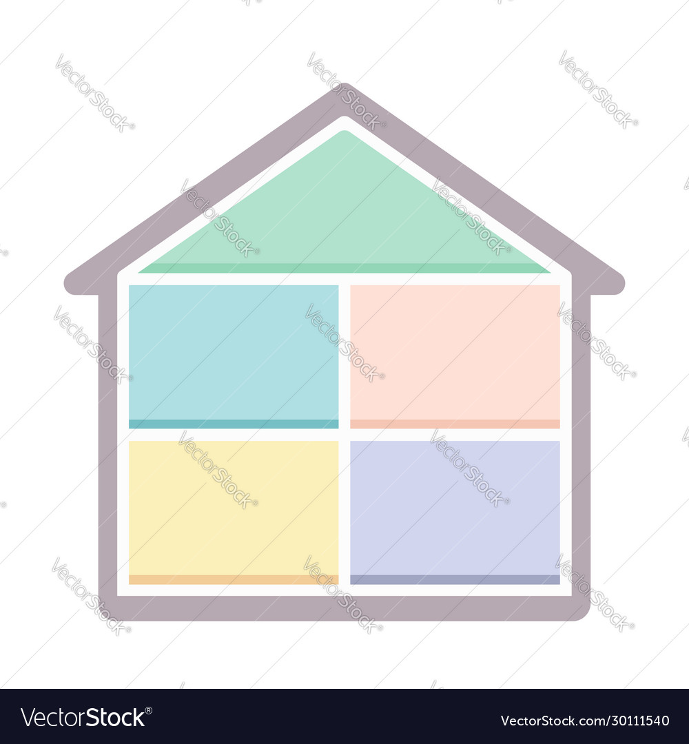 House in cut simple icon flat design