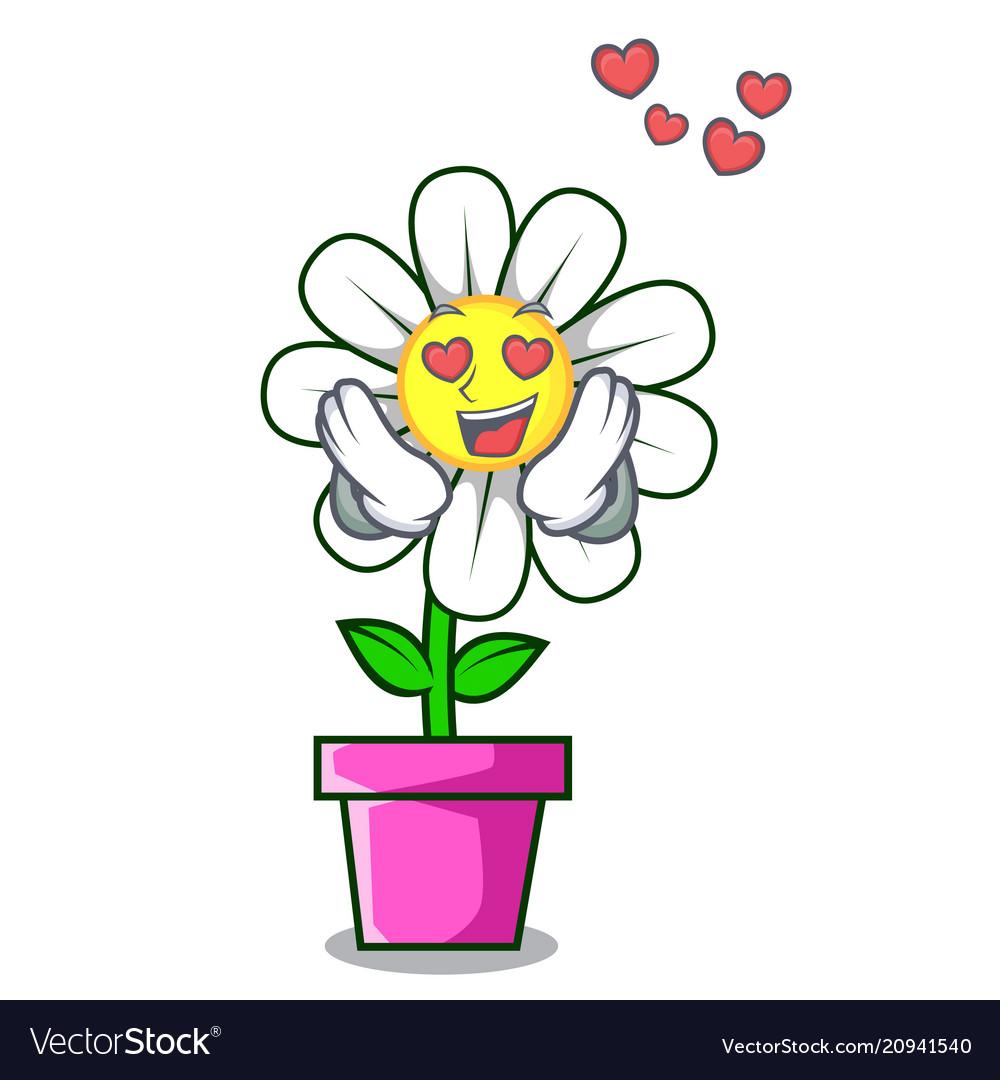 In love daisy flower mascot cartoon royalty free vector in love daisy flower mascot cartoon vector image izmirmasajfo