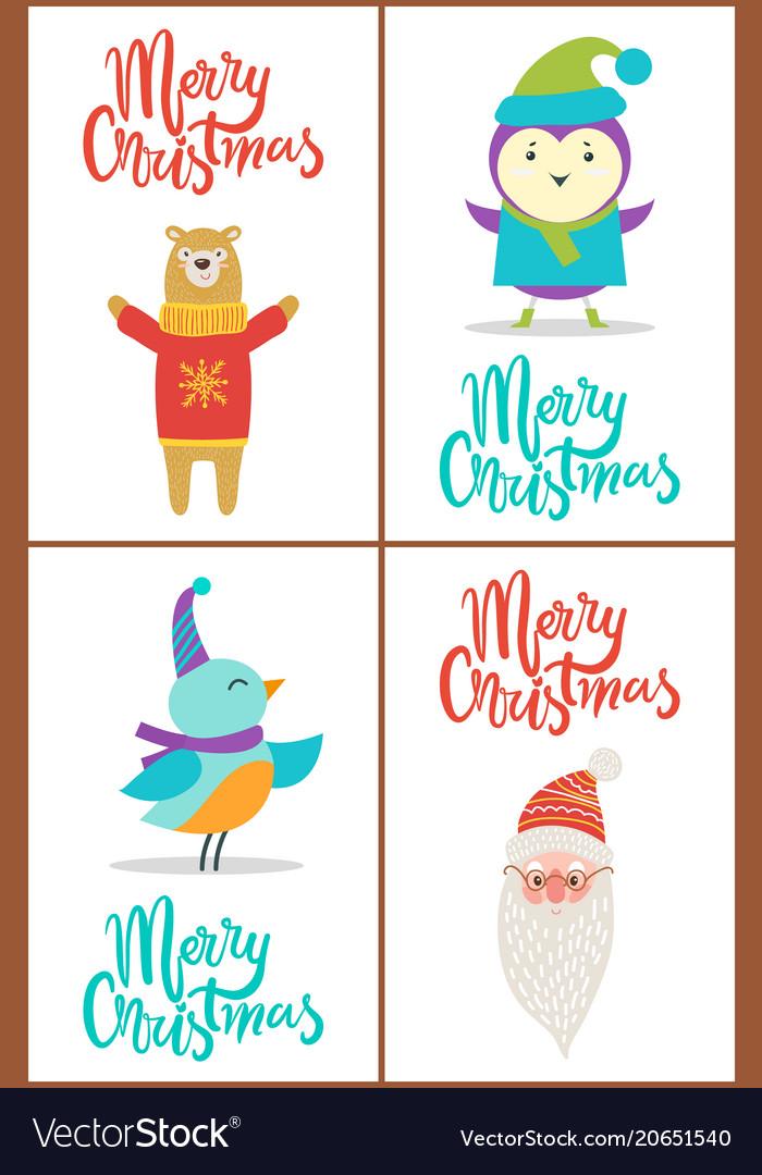Merry christmas bear and bird