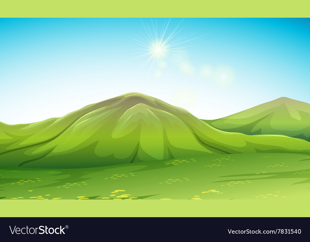 Nature scene with green mountain