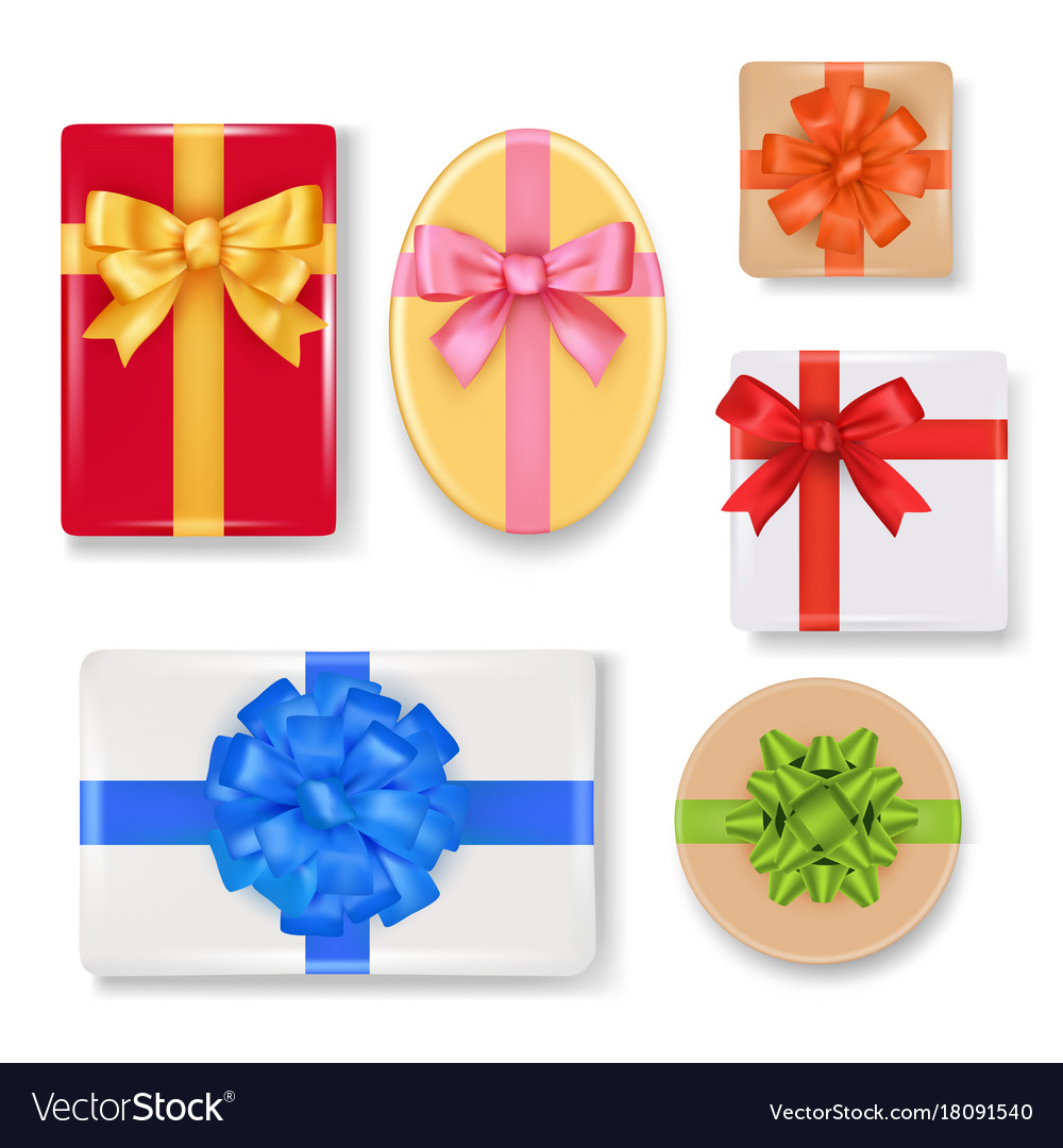 Realistic gift box set vector image