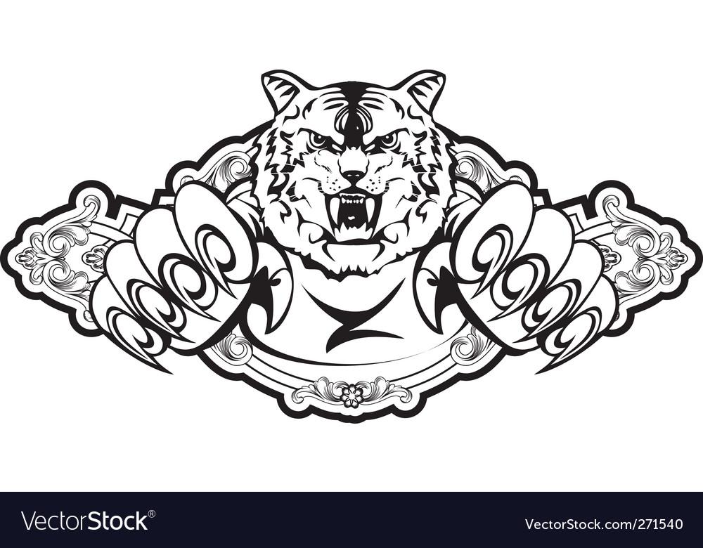 Tiger attacks in frame vector image