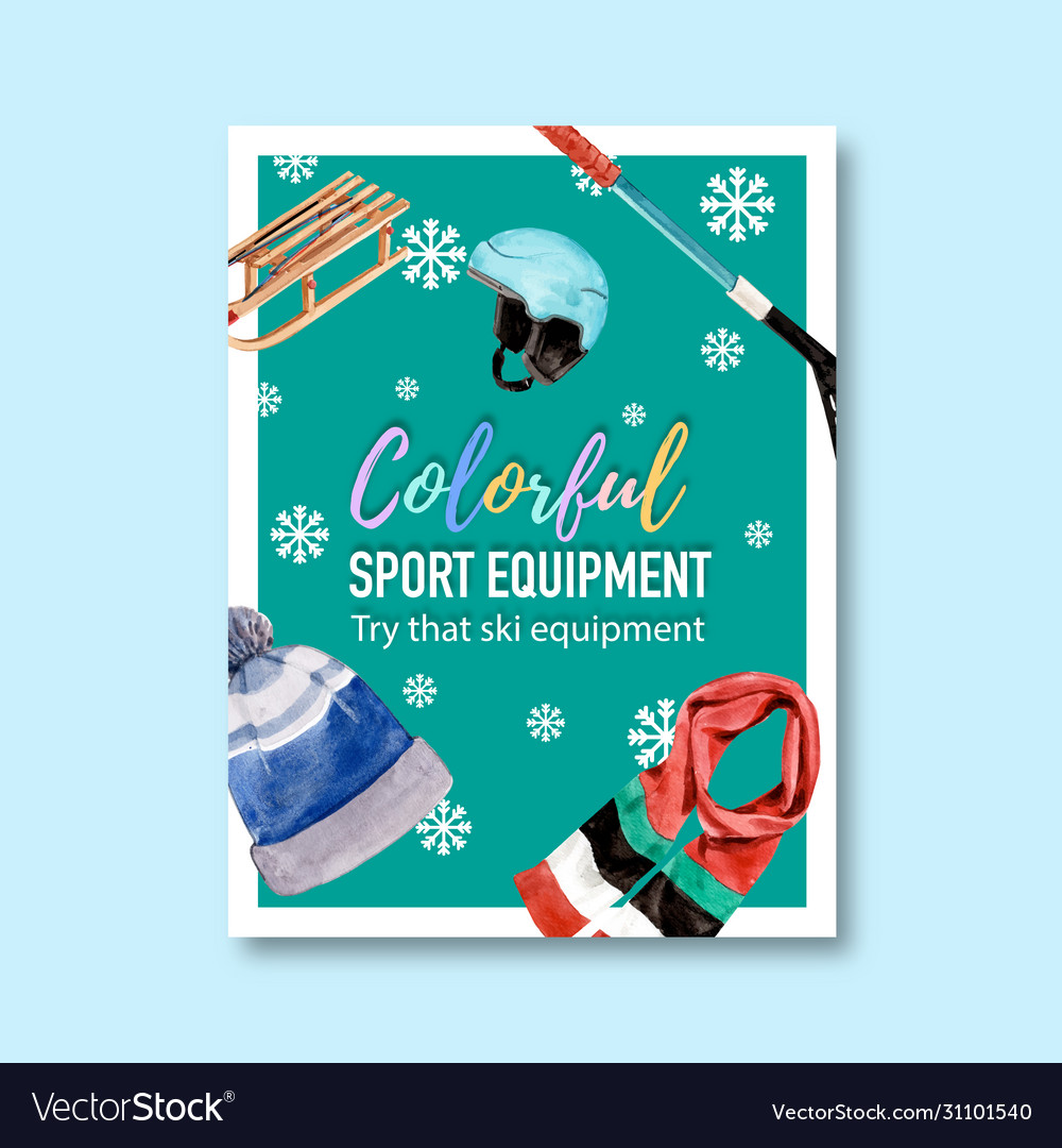 Winter sport poster design with hat scarf helmet