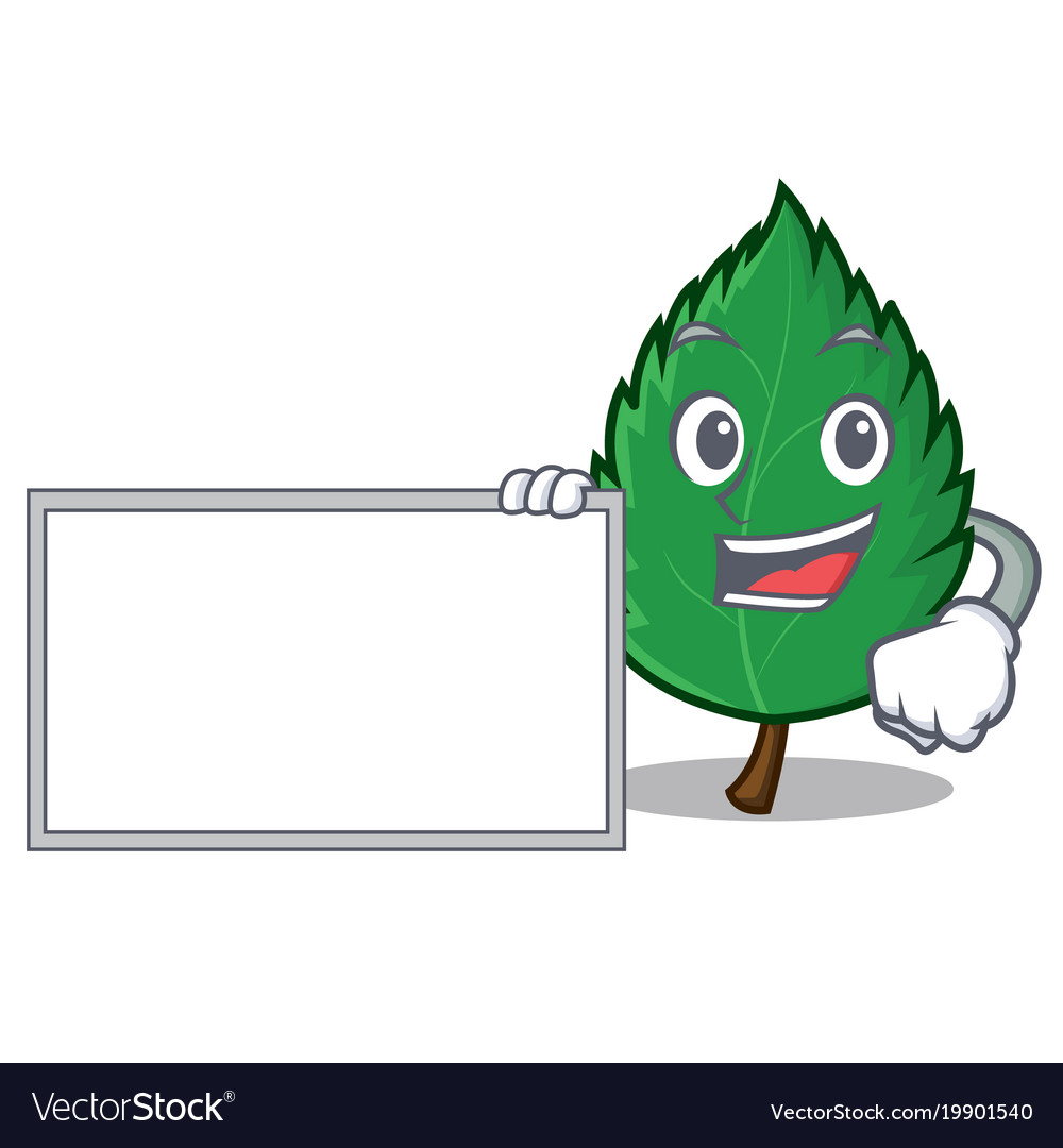 With board mint leaves character cartoon