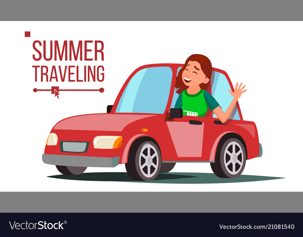 Woman travelling by car girl in summer