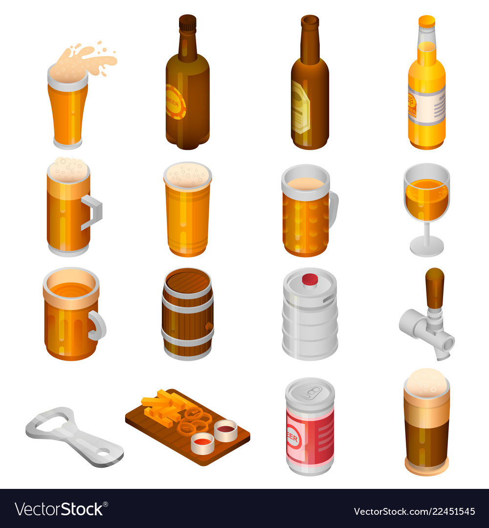 Beer drink icon set isometric style