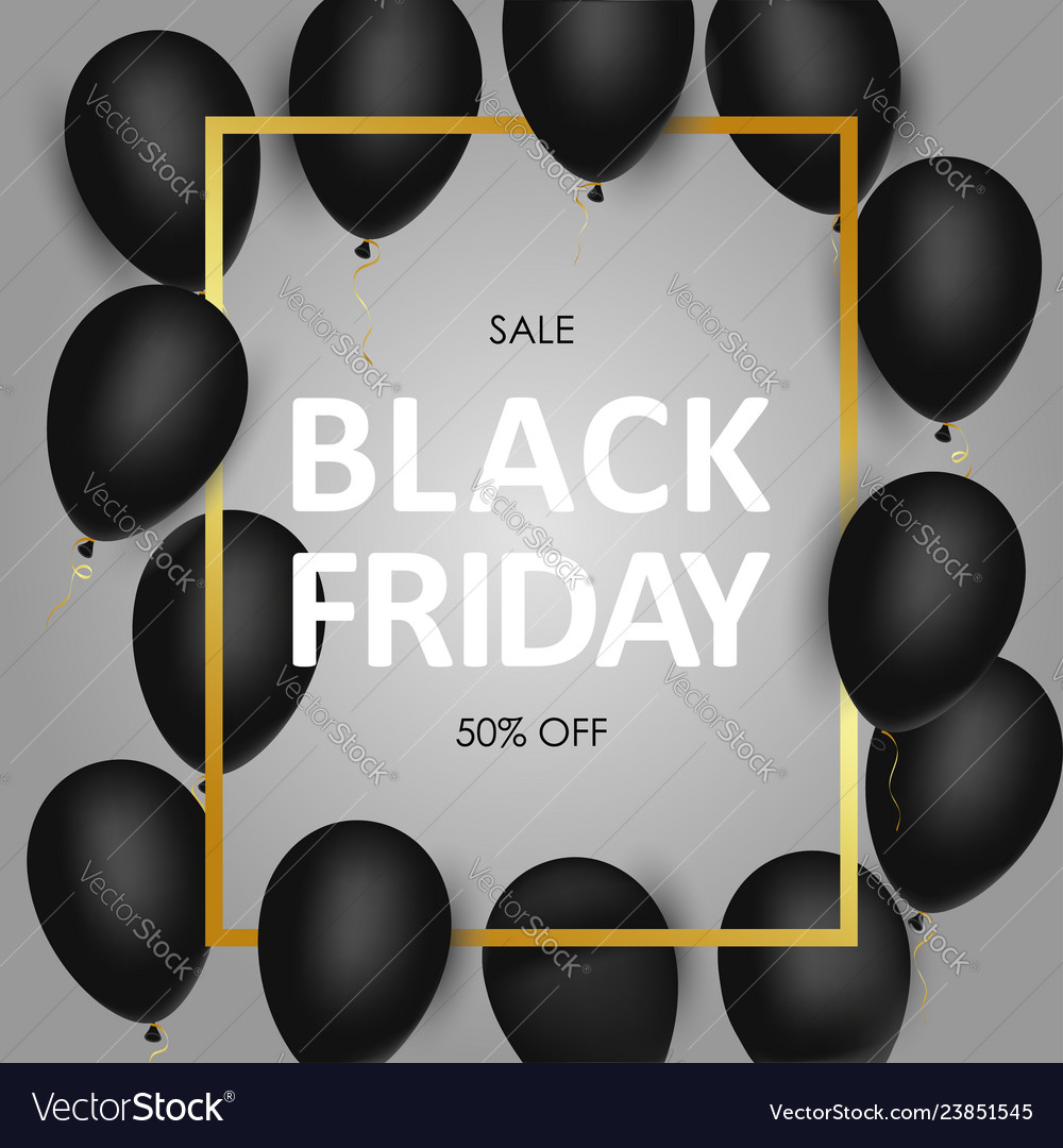 Black friday sale banner with black realistic