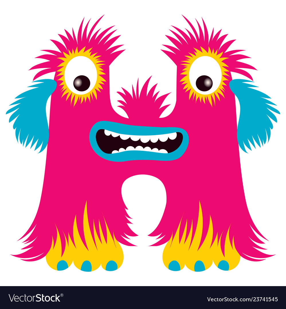 Cartoon capital letter h from monster alphabet