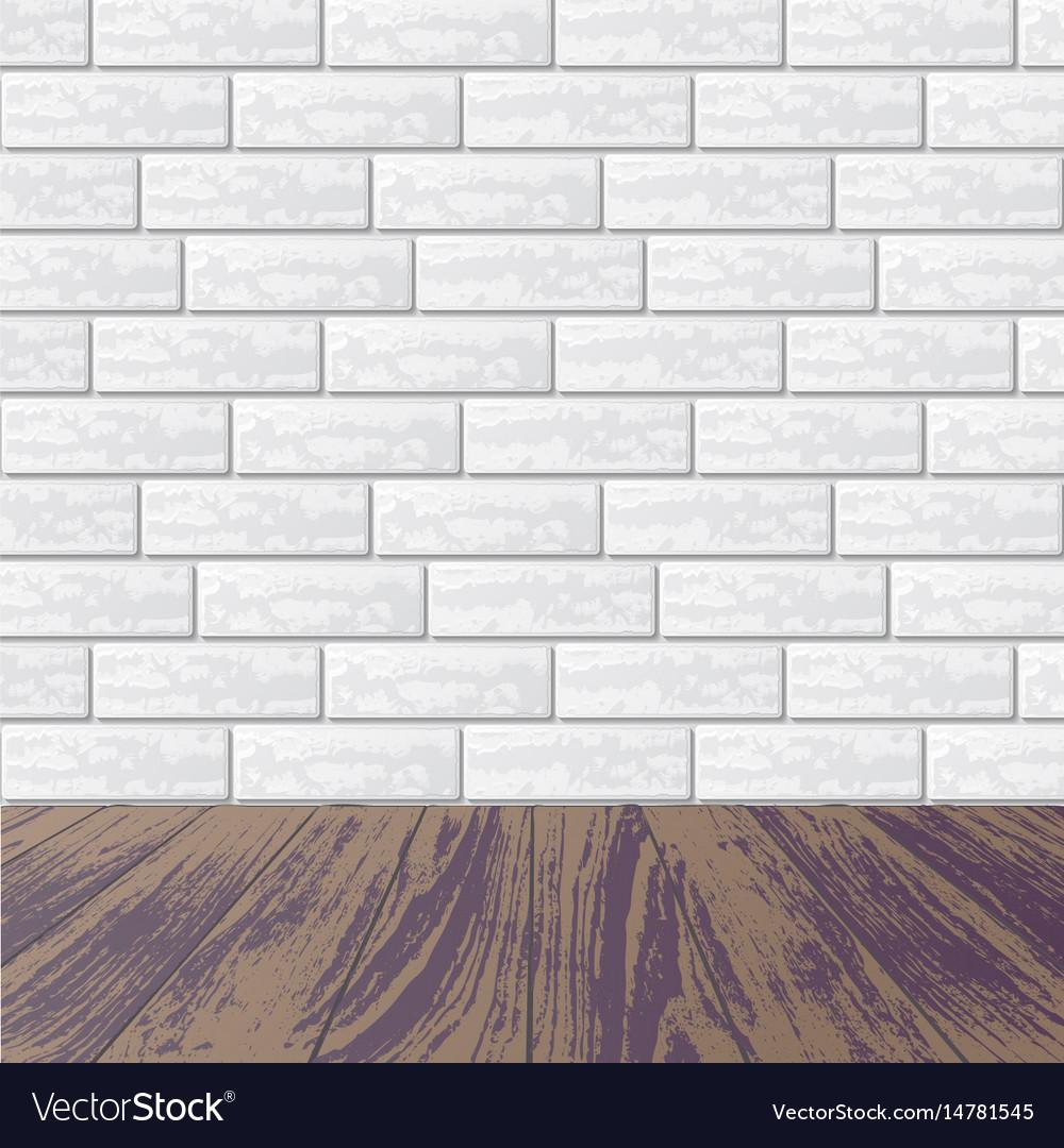 Gray Brick Wall With Laminate Floor Vector Image