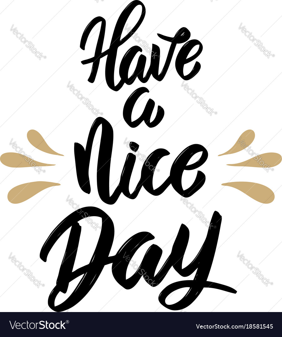 Have a nice day hand drawn lettering isolated on