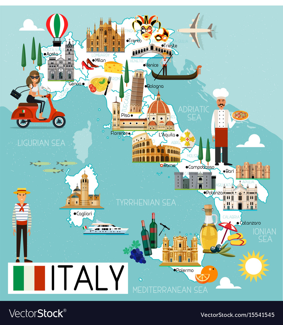 Italy travel map vector image