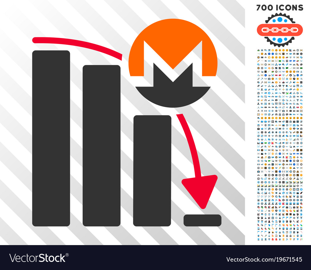 Monero falling acceleration chart flat icon with