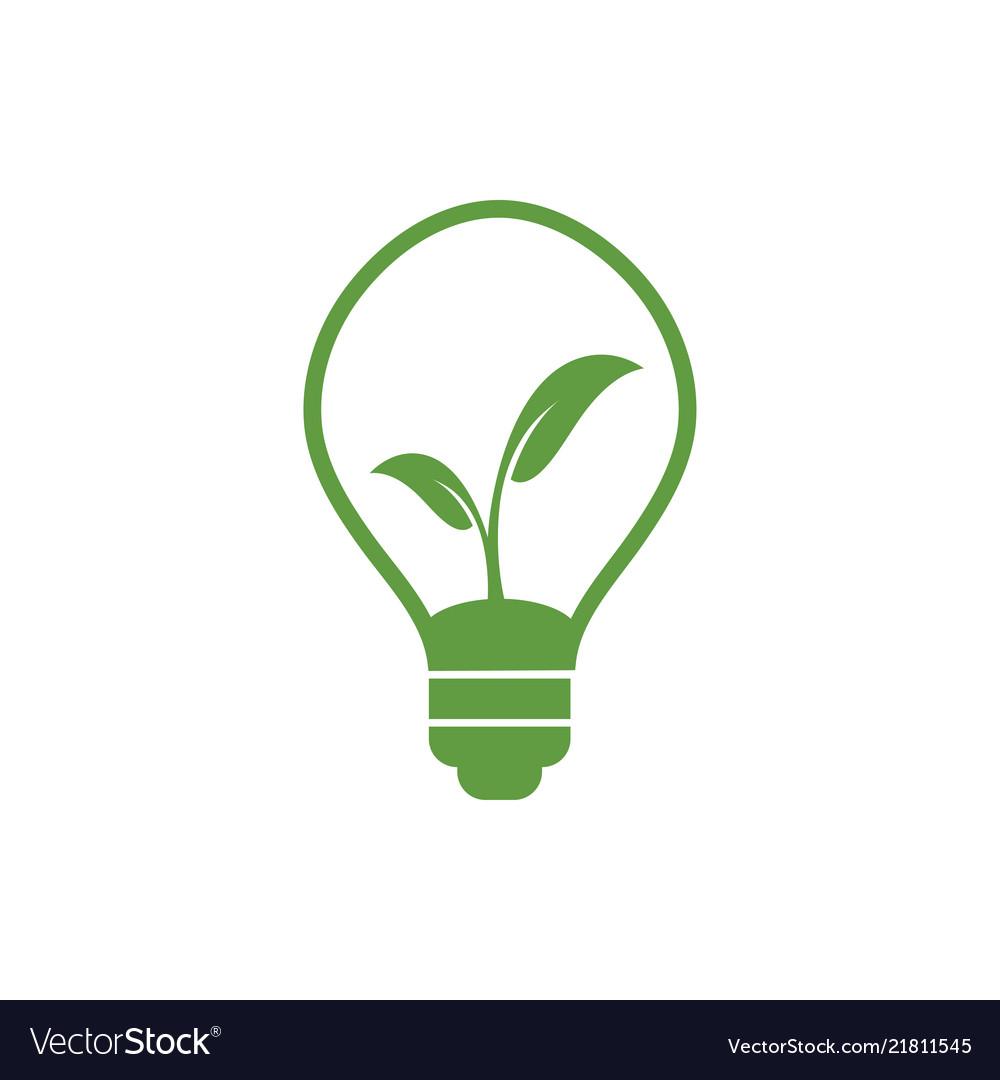 Natural light bulb lamp logo design template Vector Image