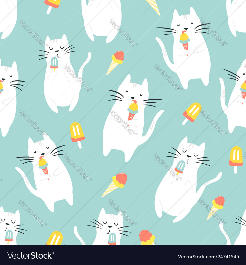 Seamless pattern with funny cats eating ice cream
