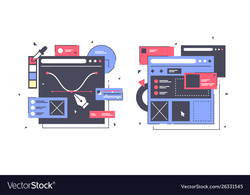 Set icons with web design laptop diagram online