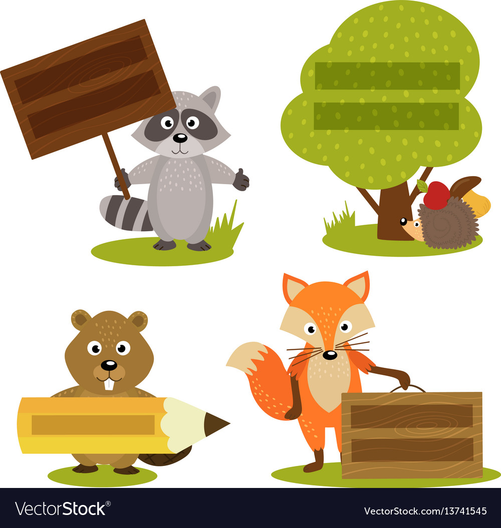 Set of isolated forest animal with frame