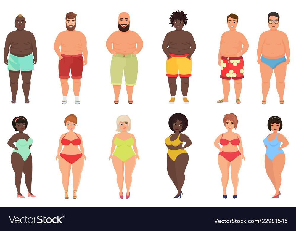 Set overweight fat curvy women girls and beach