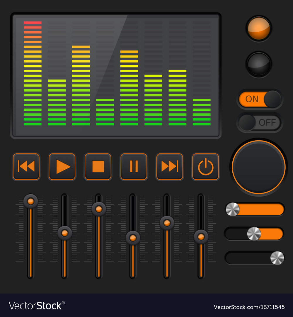 Sound equalizer with slider and media player