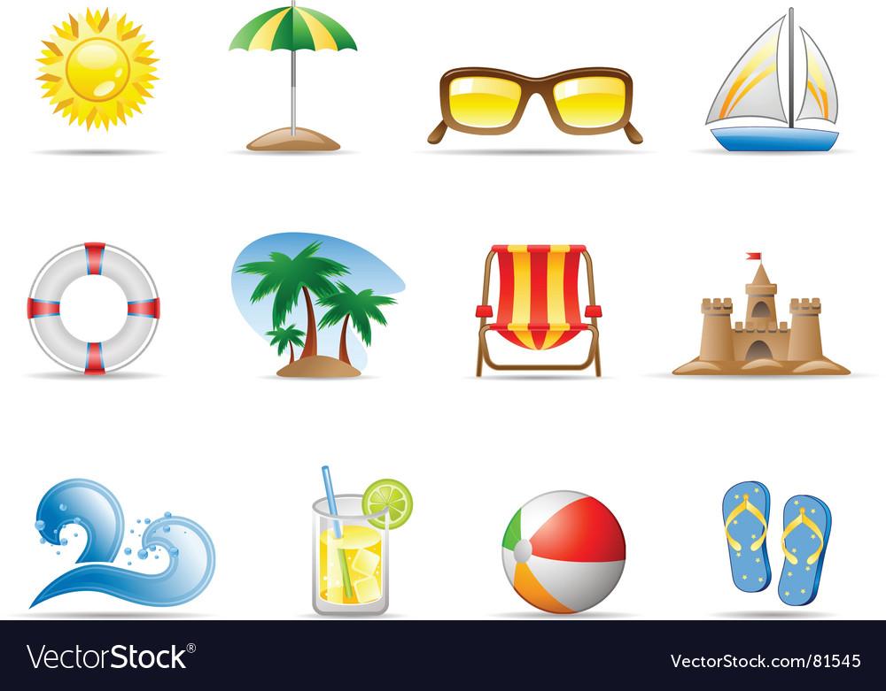 Sun sea and beach vector image