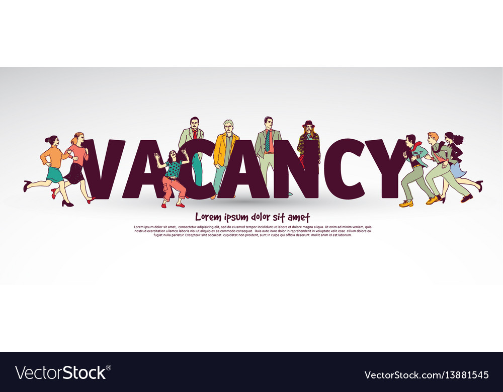 Vacancy team group business people and sign