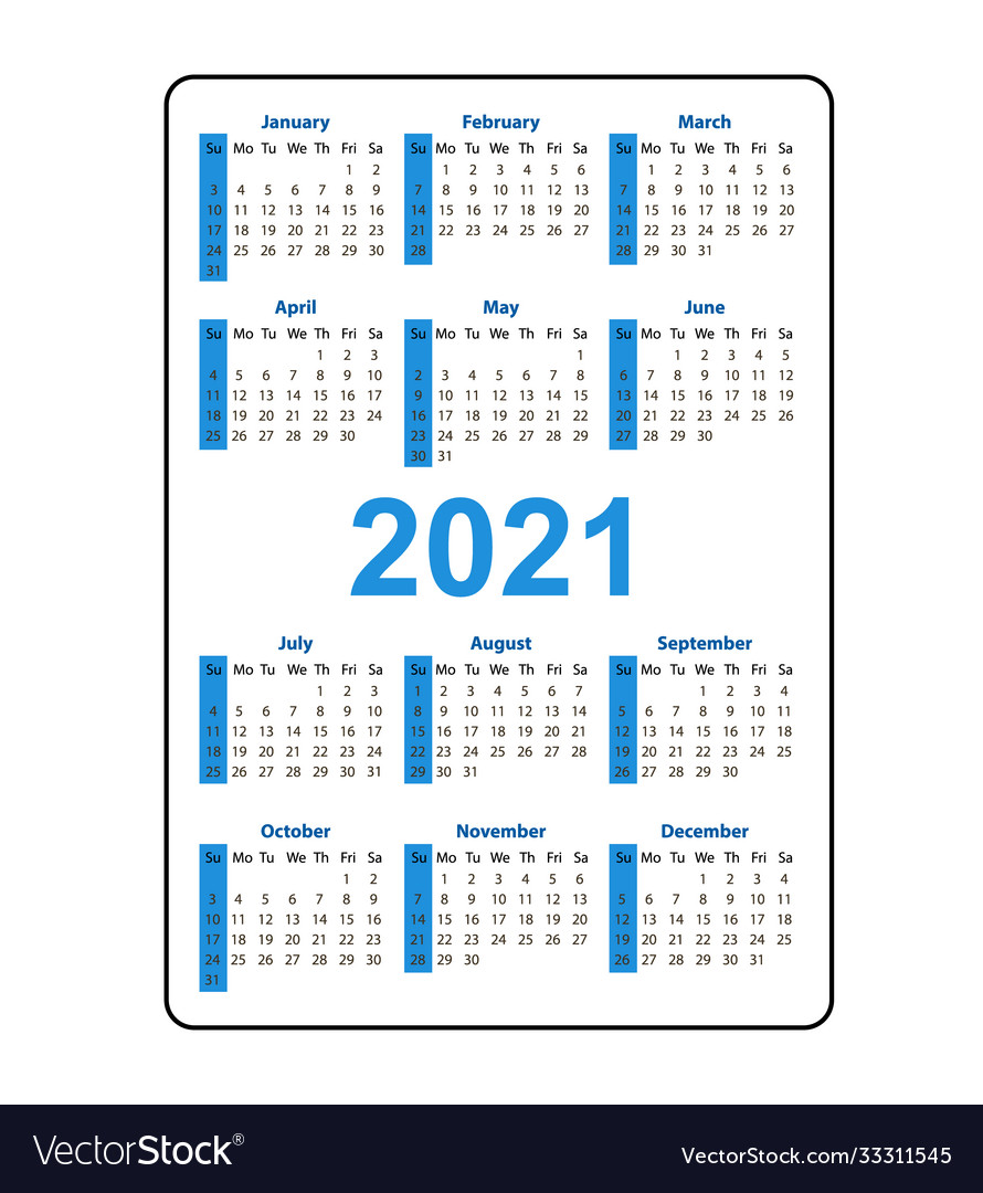 2021 Pocket Calendar Printable Vertical pocket calendar 2021 year week starts Vector Image