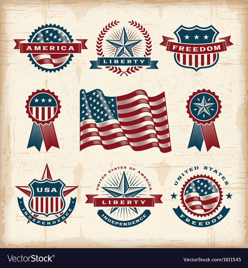 Vintage american labels set vector image