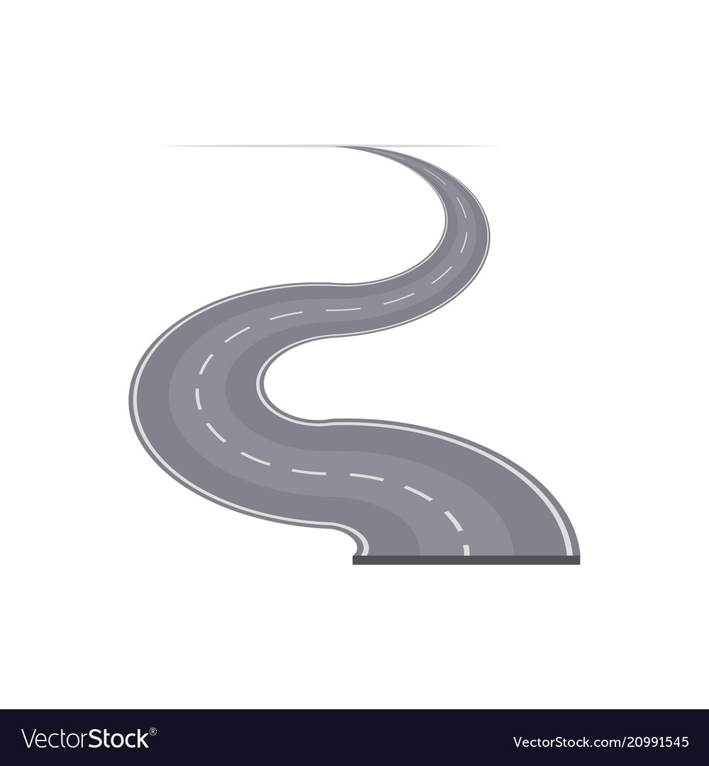 Winding curved highway with markings