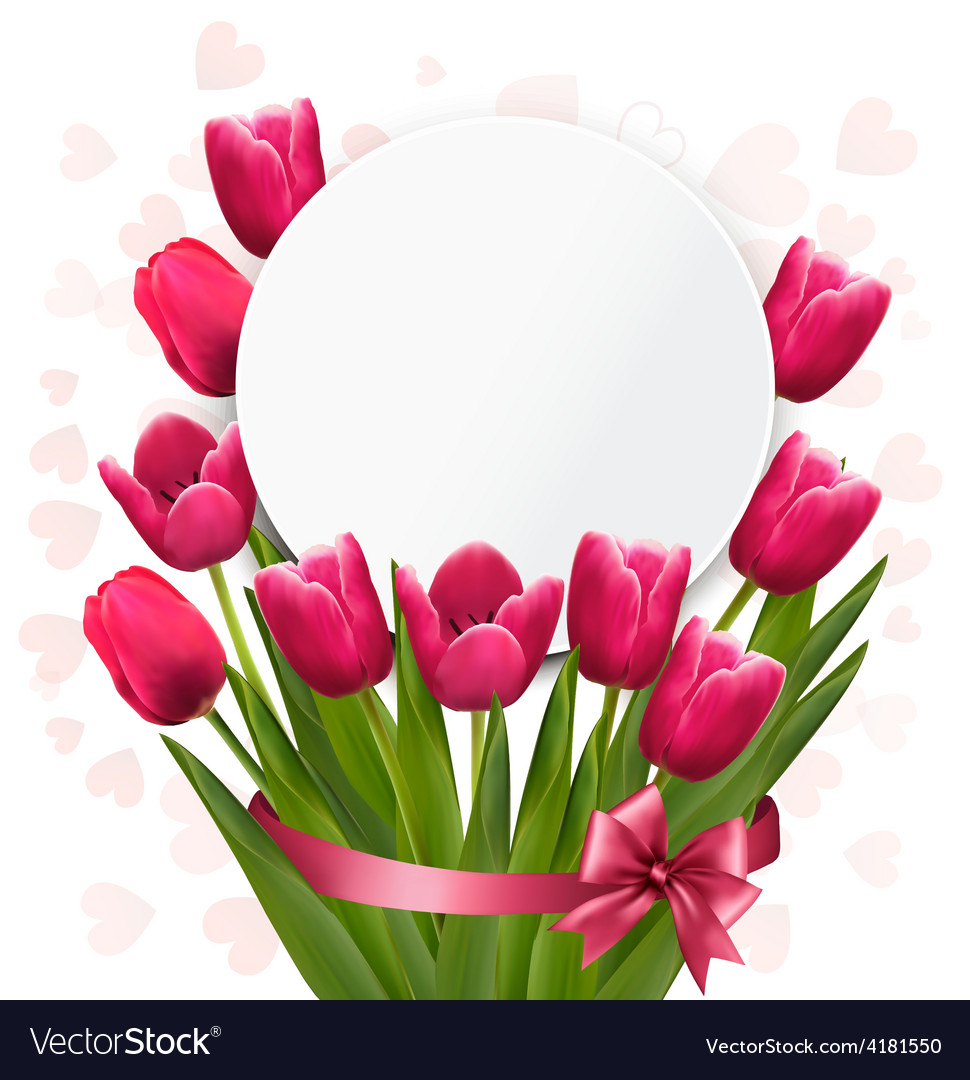 Celebration background with pink tulips