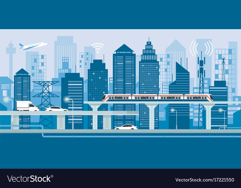 Cityscape with infrastructure and transportation
