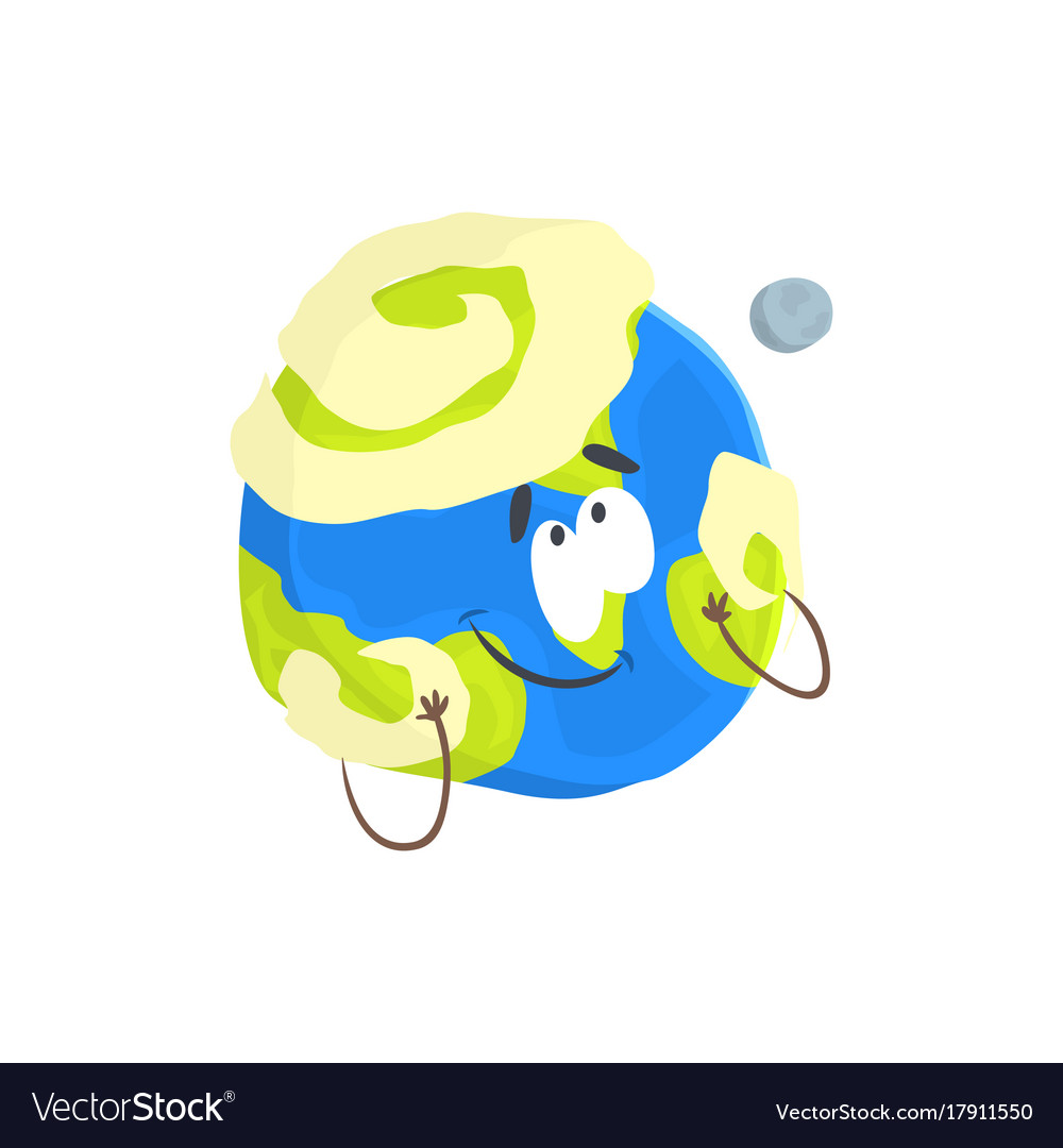 Cute humanized earth planet character sphere with