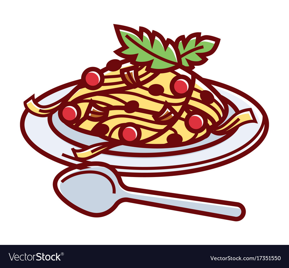 Delicious italian carbonara on plate with spoon vector