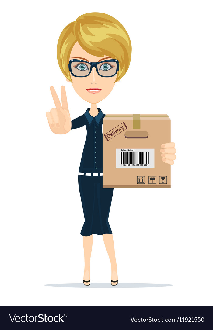 Delivery service woman with box shows sign of