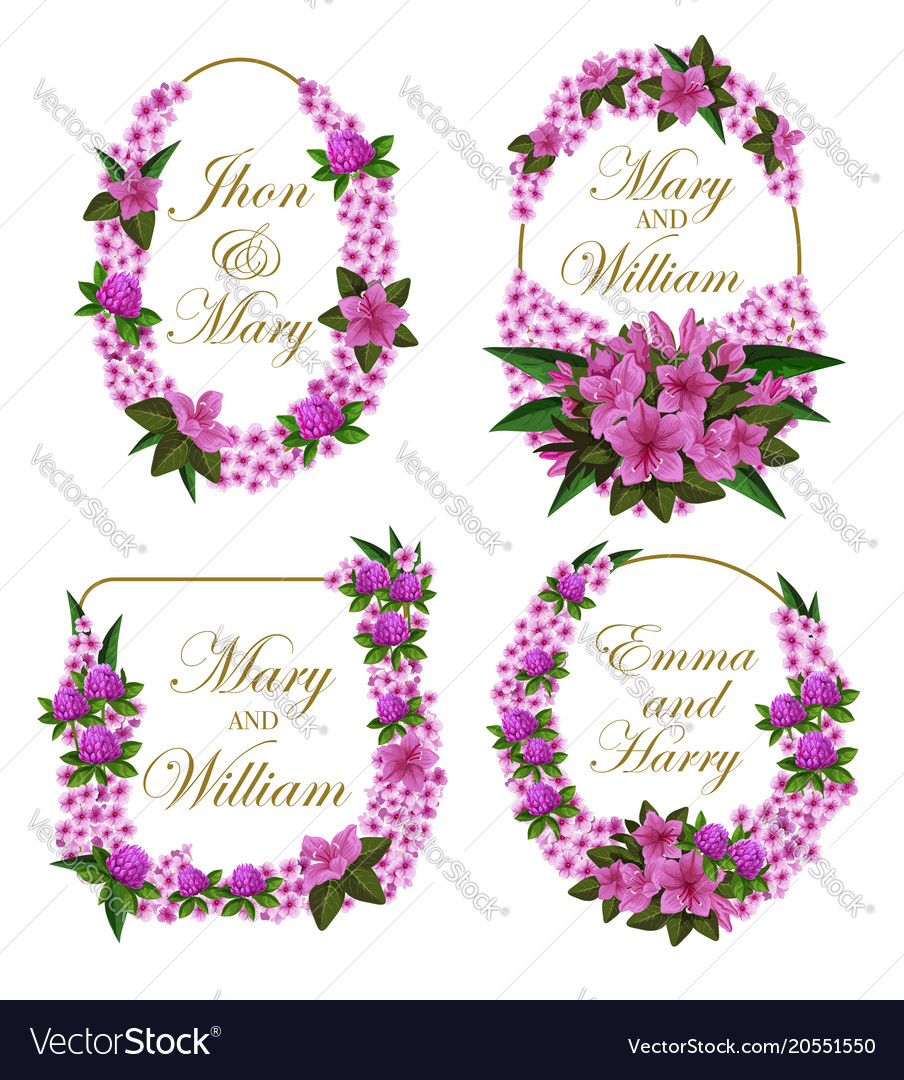 Flowers frames icons for wedding save date Vector Image