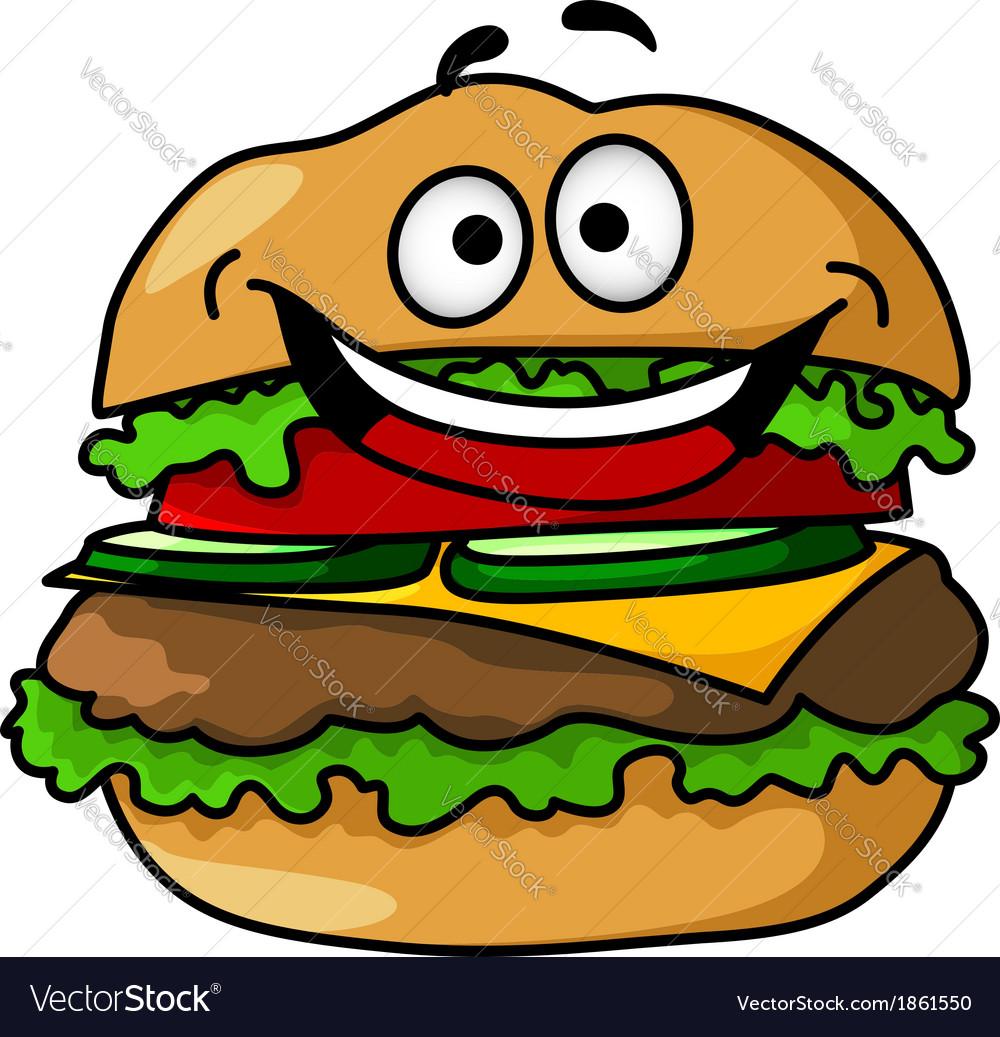 happy cartoon hamburger with smiley face vector image rh vectorstock com cartoon burger pictures cartoon burger pictures