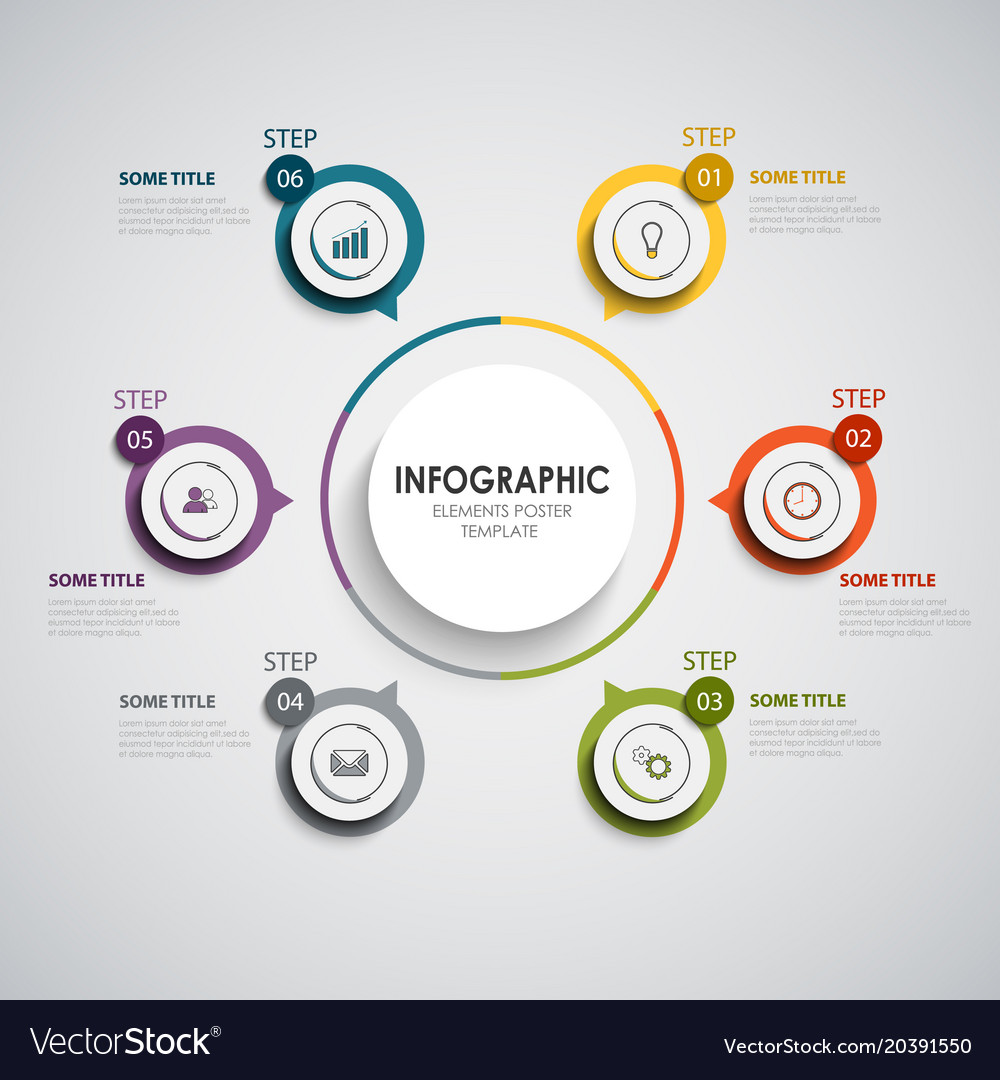 Info graphic with round color design elements