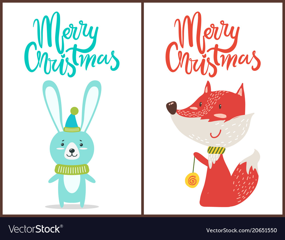 Merry christmas congratulation from cute animals