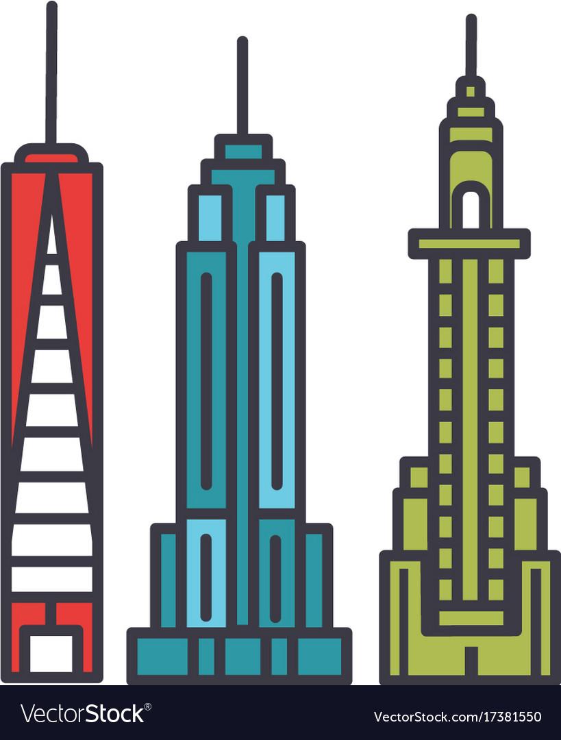 New york skyline flat line concept