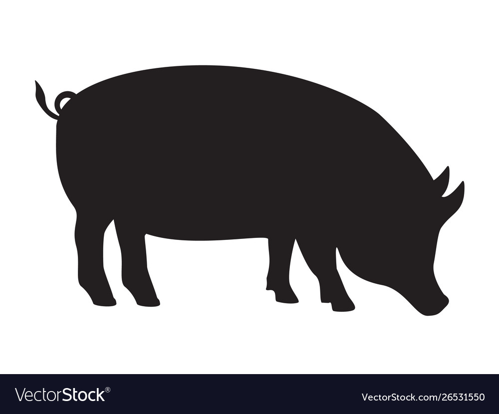 Pig silhouette side pork animal icon isolated on