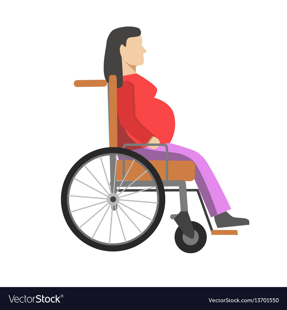 Pregnant woman sitting in wheelchair isolated on