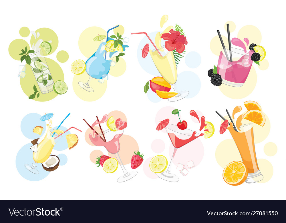 Set alcoholic cocktails collection of