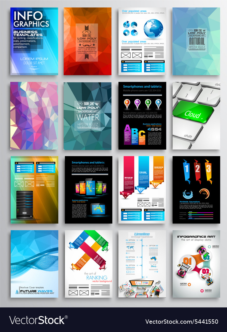 Set flyer design infographics brochure designs vector