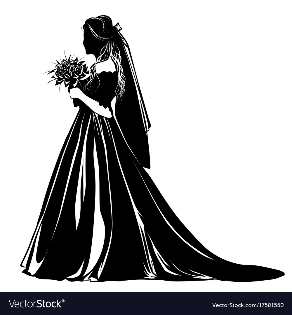 Silhouette of a bride standing with a bouquet of
