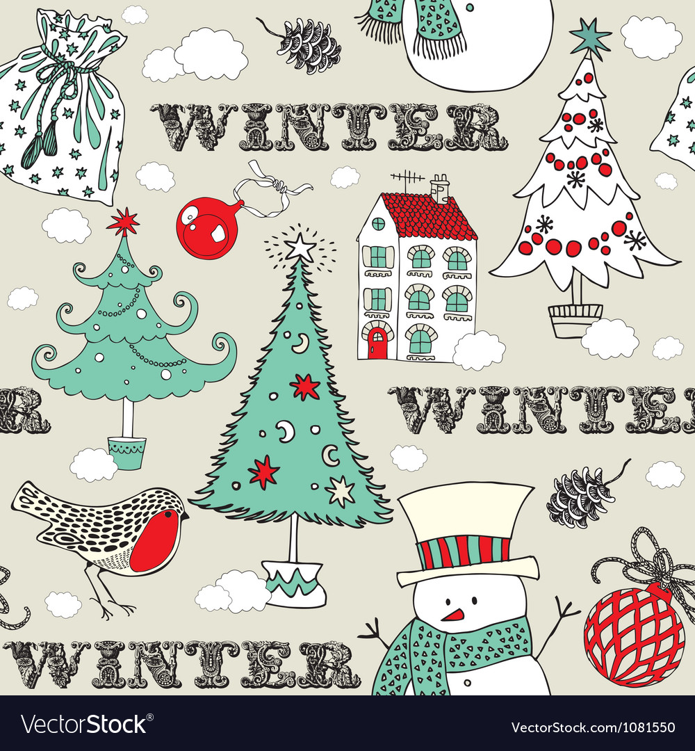 Vintage Christmas Winter pattern vector image