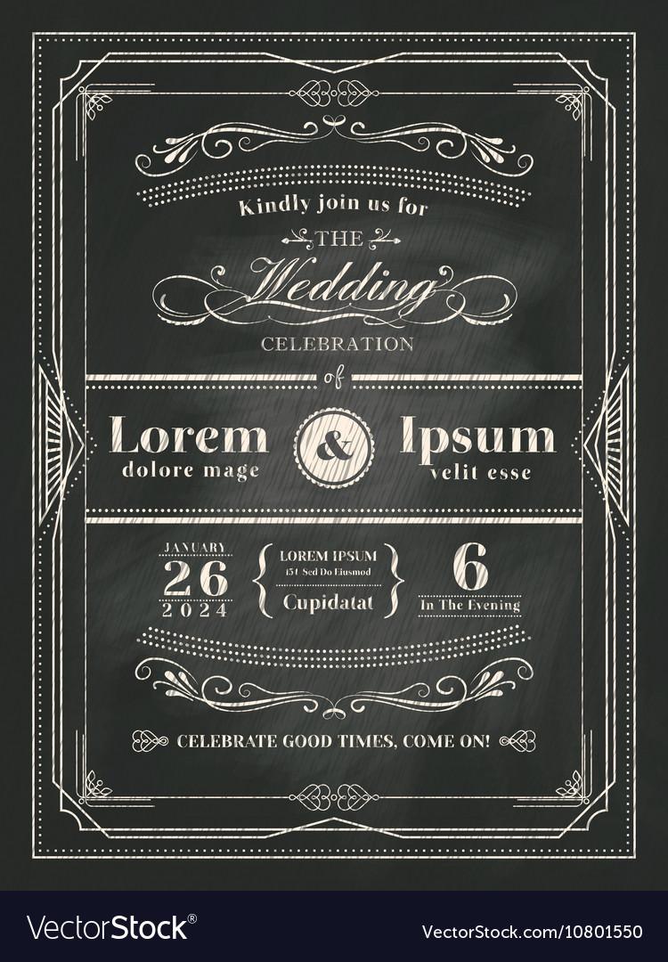 Vintage frame wedding invitation card