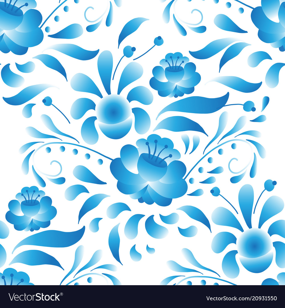 White-and-blue elegance seamless pattern in