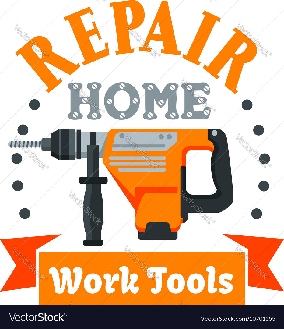 Building and repair tool badge with rotary hammer vector image