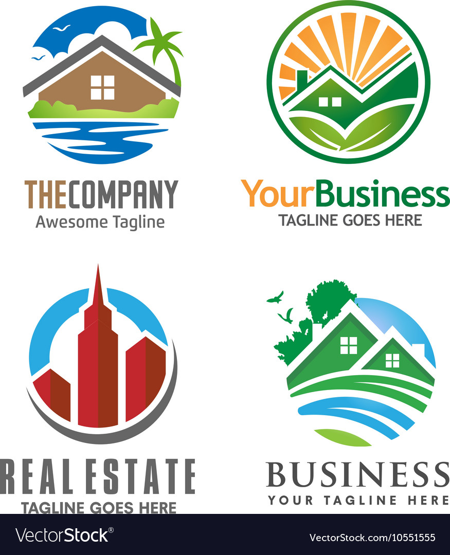 Building house and real estate logo set
