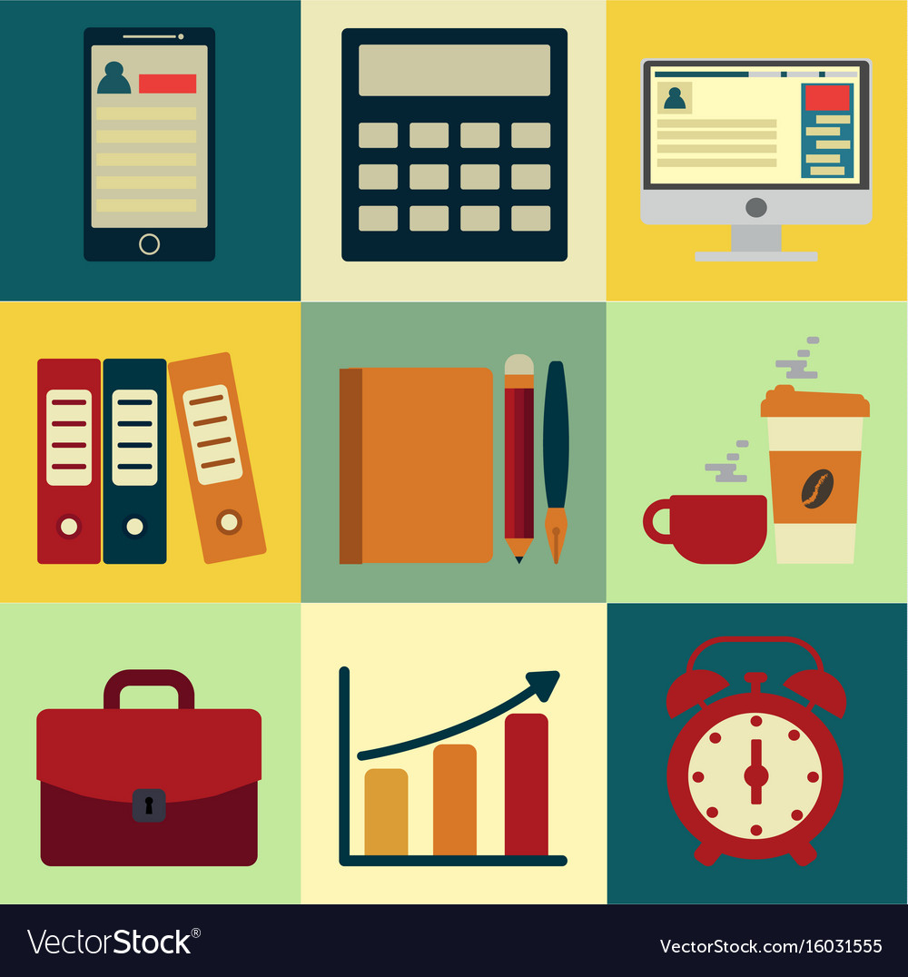 Business icons with background design of