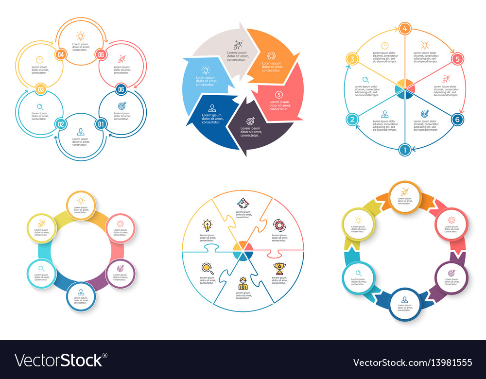Business infographics diagrams with 6 steps